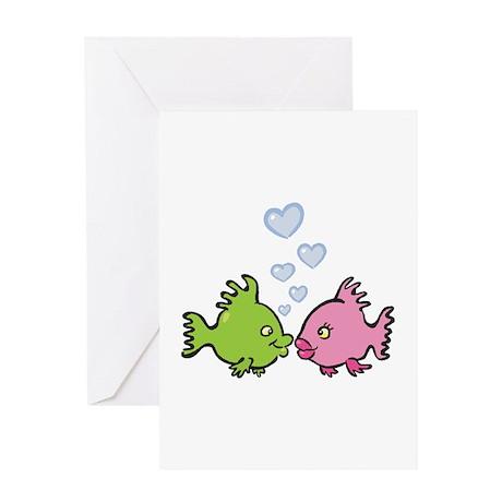 Kissy Love Fish Valentine Greeting Card