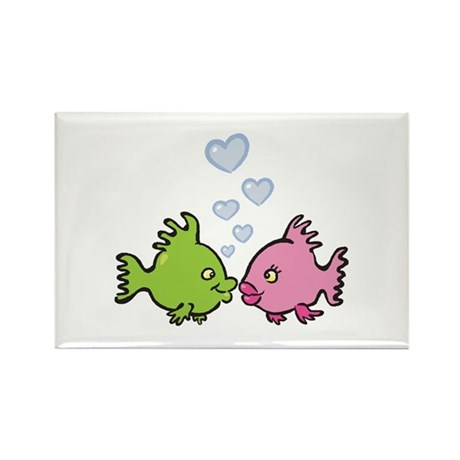Kissy Love Fish Valentine Rectangle Magnet