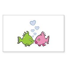 Kissy Love Fish Valentine Rectangle Decal