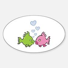 Kissy Love Fish Valentine Oval Decal