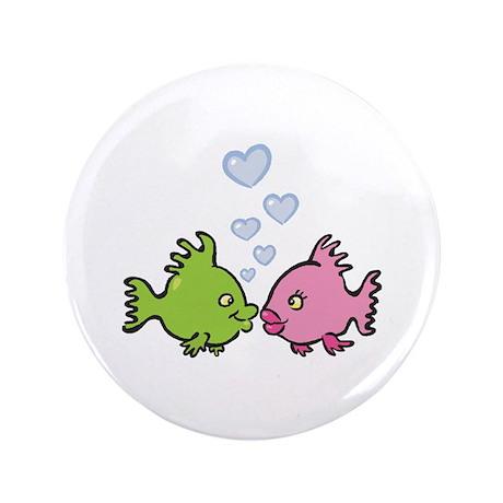 "Kissy Love Fish Valentine 3.5"" Button (100 pack)"