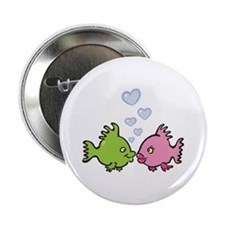 "Kissy Love Fish Valentine 2.25"" Button"
