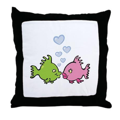 Kissy Love Fish Valentine Throw Pillow