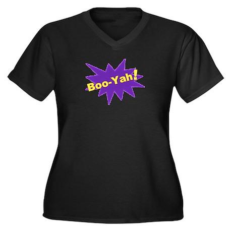 Boo-Yah! Women's Plus Size V-Neck Dark T-Shirt