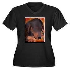 Cute Weenie dog art Women's Plus Size V-Neck Dark T-Shirt