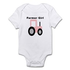 Farmer Girl Pink Tractor Infant Bodysuit
