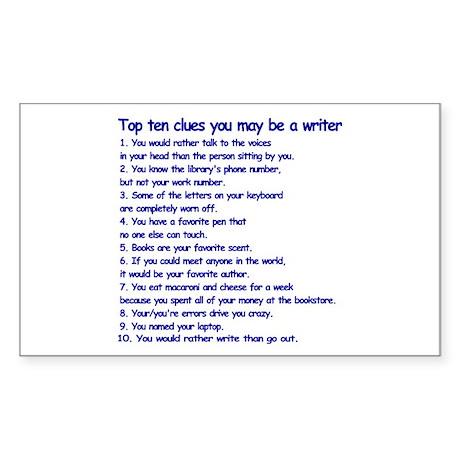 Writer Clues Rectangle Sticker