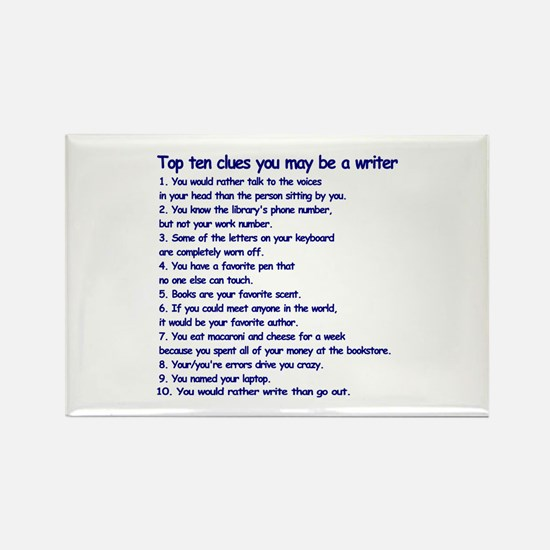 Clues You May be a Writer Rectangle Magnet