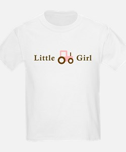 Little Girl Pink/Brown Tracto T-Shirt