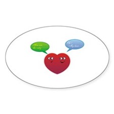 Funny Talking Love Heart Design Oval Decal