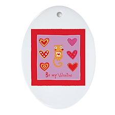 Cute Kitty Cat Valentine Oval Ornament