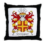 Crevequer Family Crest Throw Pillow
