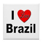 I Love Brazil Tile Coaster