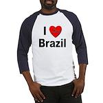 I Love Brazil (Front) Baseball Jersey