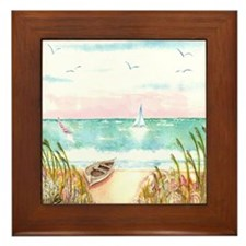 A Day at the Beach Framed Tile