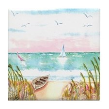 A Day at the Beach Tile Coaster