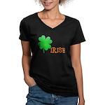 Irish Shamrock Women's V-Neck Dark T-Shirt