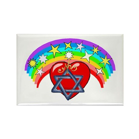 Jewish Love Hearts Rectangle Magnet