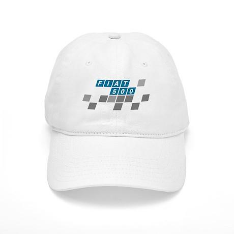 Fiat 500 cap Period logo on a white cap.