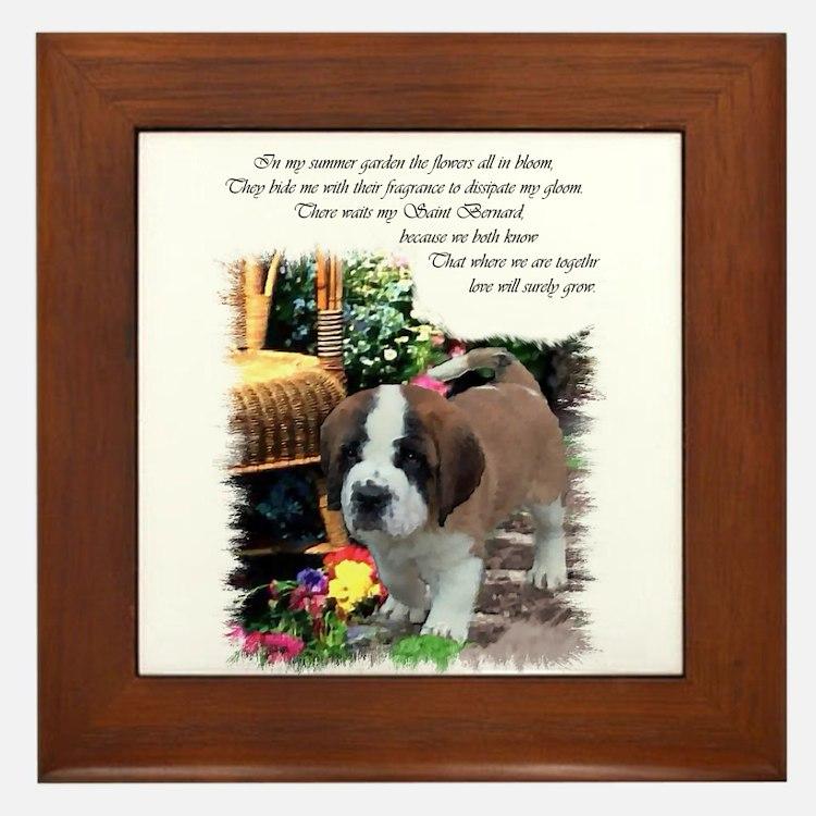 Saint Bernard Puppy Framed Tile