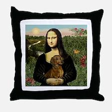Mona Lisa & Dachshund Throw Pillow
