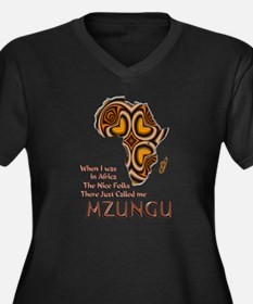 Mzungu - Women's Plus Size V-Neck Dark T-Shirt