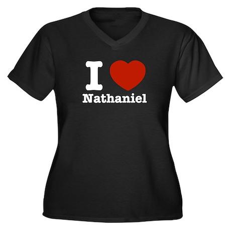 I love Nathaniel Women's Plus Size V-Neck Dark T-S