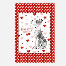 Great Dane MerleB Kiss Postcards (Package of 8)
