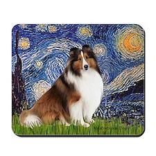 Starry Night / Sheltie (s&w) Mousepad