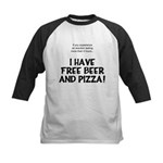 Free Beer And Pizza Kids Baseball Jersey