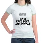 Free Beer And Pizza Jr. Ringer T-Shirt