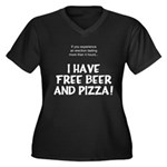 Free Beer And Pizza Women's Plus Size V-Neck Dark