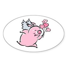 Valentine Pig Oval Decal