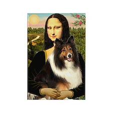 Mona Lisa / Sheltie (s&w) Rectangle Magnet (10 pac