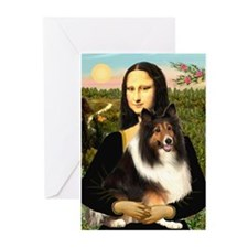 Mona Lisa / Sheltie (s&w) Greeting Cards (Pk of 10