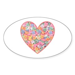 Conversation Valentine Heart Oval Decal