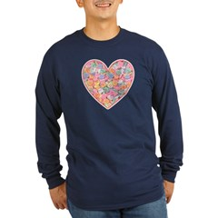 Conversation Valentine Heart Long Sleeve Dark T-Sh