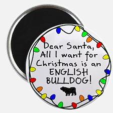 Dear Santa English Bulldog Christmas Magnet