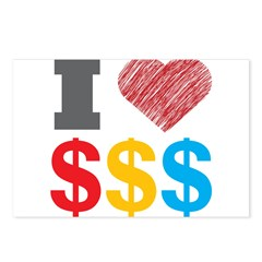 I Love Dollars Postcards (Package of 8)
