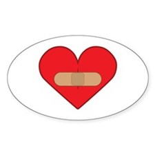 Broken heart with Band-aid Oval Decal