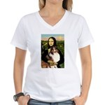 Mona Lisa / Sheltie (s&w) Women's V-Neck T-Shirt