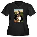 Mona Lisa / Sheltie (s&w) Women's Plus Size V-Neck