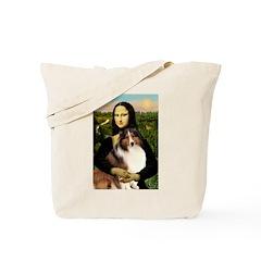 Mona Lisa / Sheltie (s&w) Tote Bag