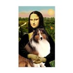 Mona Lisa / Sheltie (s&w) Sticker (Rectangle)