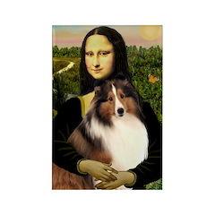 Mona Lisa / Sheltie (s&w) Rectangle Magnet