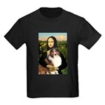 Mona Lisa / Sheltie (s&w) Kids Dark T-Shirt