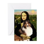 Mona Lisa / Sheltie (s&w) Greeting Cards (Pk of 20