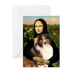 Mona Lisa / Sheltie (s&w) Greeting Card