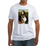 Mona Lisa / Sheltie (s&w) Fitted T-Shirt