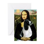 Mona Lisa/English Springer Greeting Cards (Pk of 1